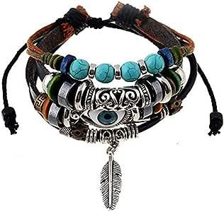 Hand of God Lucky Evil Eye Charm Layered Bracelet
