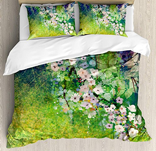 BMALL Flower Duvet Cover Set Twin Size, Traditional Multicolored Japanese Cherry Blossom Sakura Tree Petals Grass Land Paint,Soft Stylish Home Decor Duvet Cover Set, Pink Green