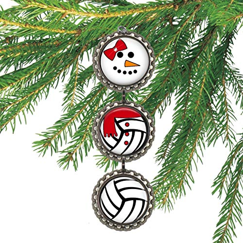Girl's Volleyball Bottle cap Christmas Ornament