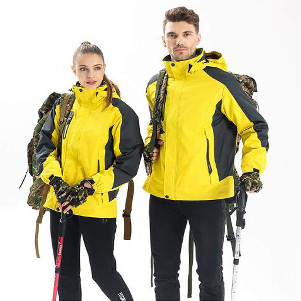 Herren Bergwinddichte warme Jacke, wasserdicht verdickt Fleece Ski Coldproof Sportbekleidung abnehmbare DREI-in-one Windjacke, Außenreitsportkleidung,Gelb,XL