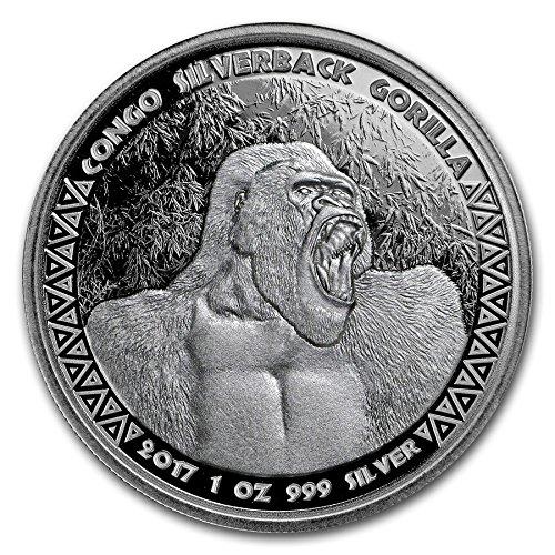 2017 Silverback Gorilla 99.99% pure Silver Coin Republic of Congo - 3rd in Series 1 OZ Brilliant Uncirculated BU