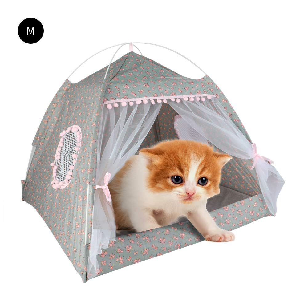 laamei Cat Tent Bed Plaid Print Triangle Two Way Conversation Cat Dog Bed With Bow Large Pink