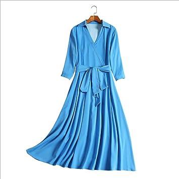 YAN Vestido de Mujer Vestido Casual para Mujer - Cuello Camisero de Cintura Alta de Color