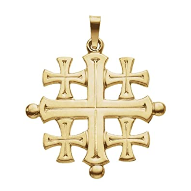 Amazon 14k yellow gold jerusalem cross pendant 27x26mm jewelry 14k yellow gold jerusalem cross pendant 27x26mm aloadofball Images