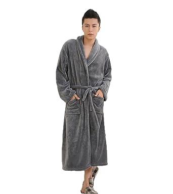 1ab1789f4a Mens Fleece Solid Robe Plush Shawl Collar Long Spa Bathrobe Kimono ...