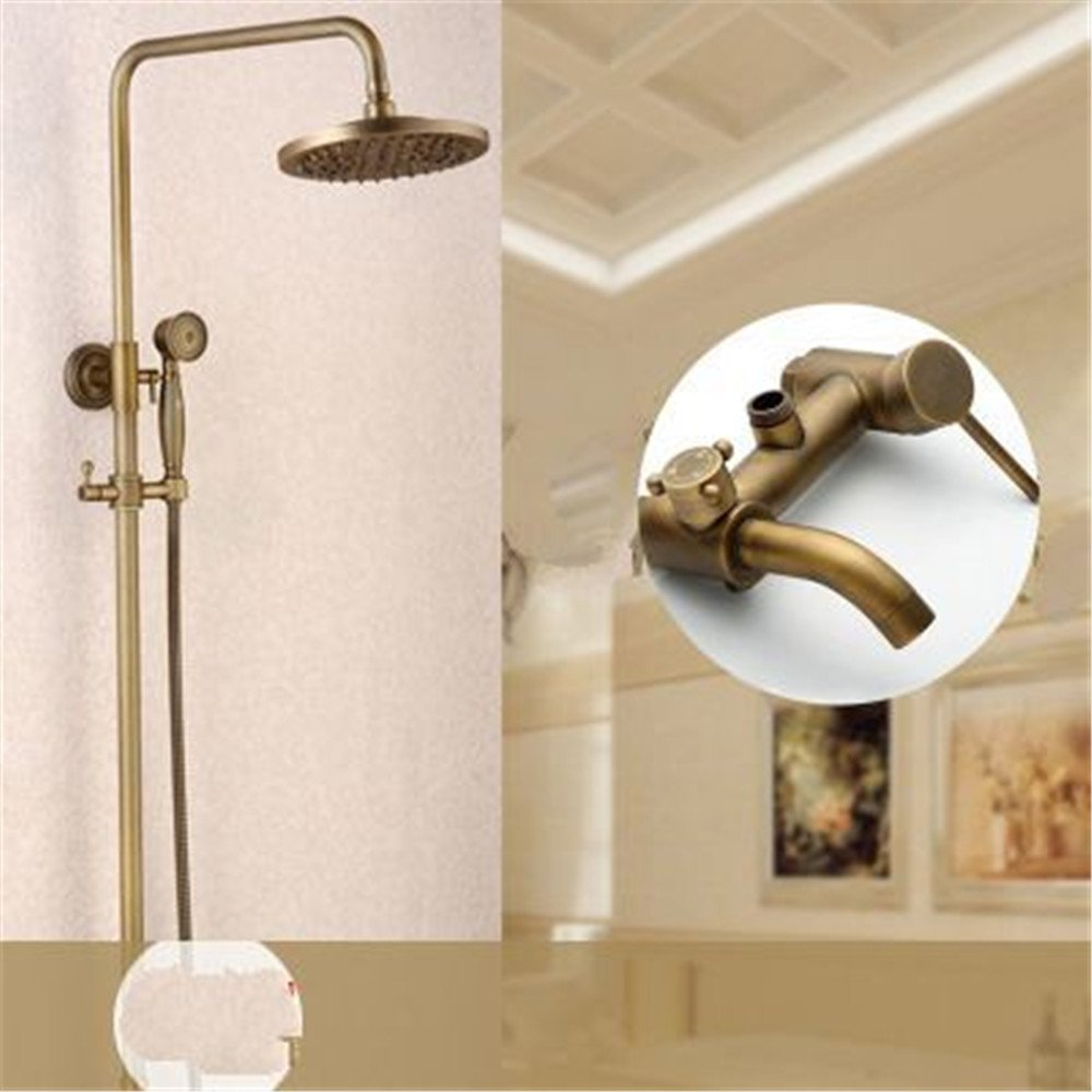 C S.Twl.E Shower Head Kit Bathroom Handheld Water Saving Shower Faucet Antique Shower Kit Full Copper Wall Mounted Bathroom Hot And Cold Shower Handheld Shower Faucet Shower D