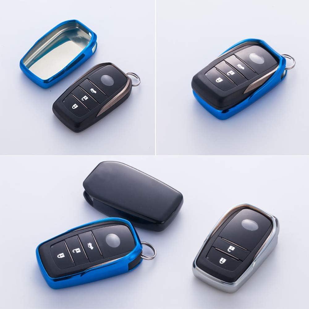 Pink Topsmart Chrome Finish TPU Car Key Protector Remote Smart Key Cover Fob Case Shell forToyota Camry Highlander Carola Prado Vitz RAV4 C-HR
