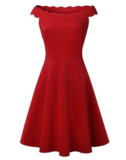 fb00ea9087a5 Zoodaa Women's Scalloped Neck Off shoulder Sleeveless Red Short Mini Dress ( S, ...