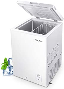 TACKLIFE Chest Freezer 3.5 Cu.Ft Quiet, 7 Temp Settings from -11.2℉ to 10.4℉ Energy-Saving 0.52 kw/day, Free Standing Compact Freezer with Removable Basket, Large Storage for Family - MPWCF355T