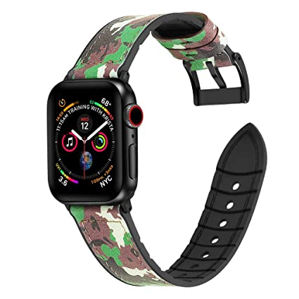 Amazon.com : XBKPLO Compatible for Apple Watch Band Series 4 38mm 40mm, Camouflage Leather + TPU Strap Bracelet Series 4/3/2/1 Replacement for iWatch Cuff ...