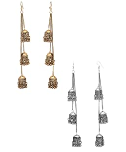 karatcart Antique Metal Kashmiri Tribal Oxidised Fashion German Multiple Jhumki Long Earrings for Women Combo of 2