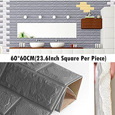 3D Foam Wall Panels Grey Color Peel And Stick Brick Wallpaper POPPAP Self-adhesive Removable for TV Walls, Background Wall Decor 20PCS