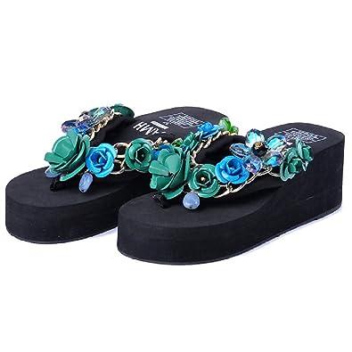 40f00045294628 Platforms Flip Flops Sandals for Women-Summer Beach Wedges Thick Bottom Anti -Slip Clip