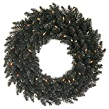 Vickerman K161825LED Wreath with 210 PVC tips & 50 Dura-lit LED Italian Style lights on Wire, 24'', Warm White/Black