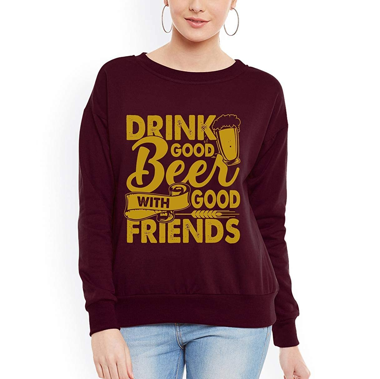 Doryti Drink Good Beer with Good Friends Women Sweatshirt tee