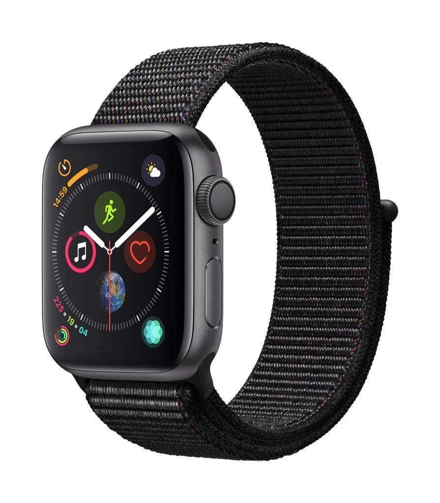 AppleWatch Series4 (GPS, 40mm) - Space Gray Aluminium Case with Black Sport Loop (Renewed)