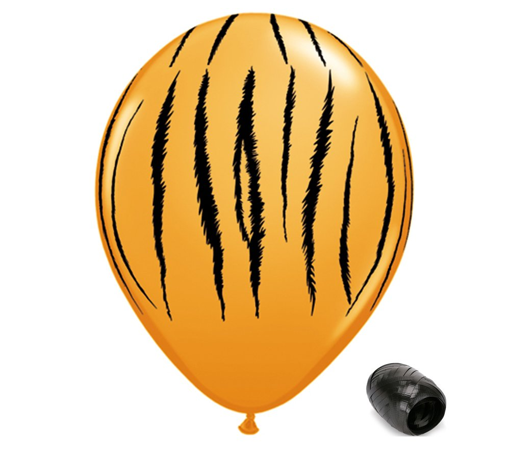 10 Pack 11' Jungle Tiger Stripes Latex Balloons with Matching Ribbons Generic