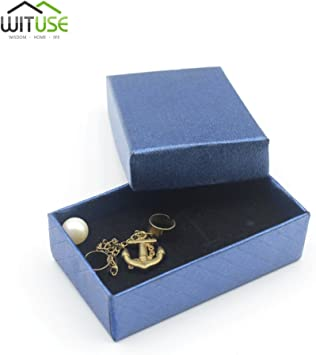 Caja de regalo cuadrada azul real para pulsera, collar, joyería ...