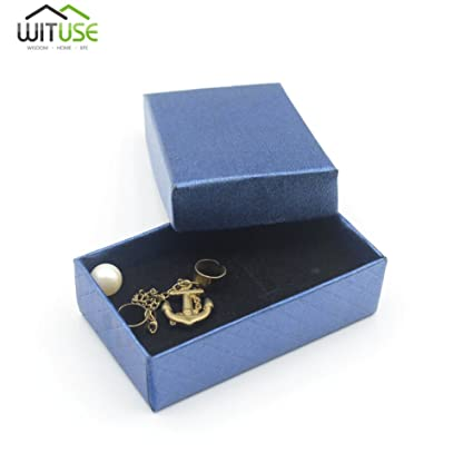 Caja de regalo cuadrada azul real para pulsera, collar, joyería, caja de regalo