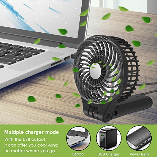 Fan BENGOO Foldable Persoanl Hand Handheld Portable USB Rechargeable Fan fwith Power Bank Feature for Home Office Outdoor Traveling Hiking Camping Use (Black) by BENGOO (Image #3)