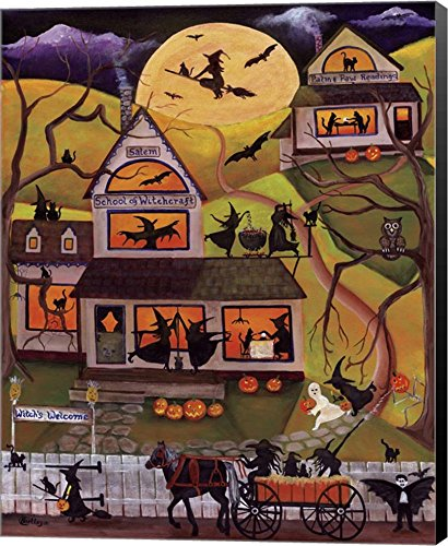 Halloween School of Witchcraft by Cheryl Bartley Canvas Art Wall Picture, Museum