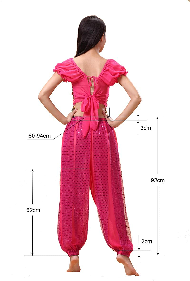 150-169cm, 30-60kg Bollywood Indian Princess Theme Belly Dance 2-Piece Costume Set Outfit for Women Girls with top and Pants