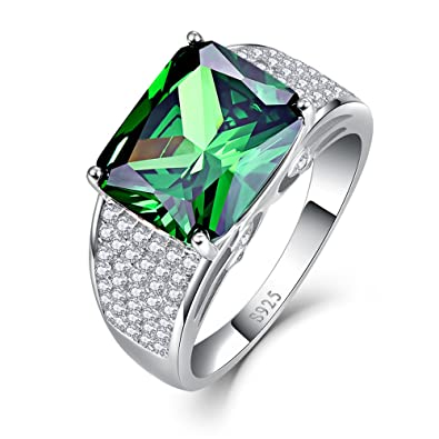 Bonlavie 925 Sterling Silver Emerald Cut Emerald Cubic Zirconia CZ Halo Engagement Wedding Rings for Women o0oboYTn