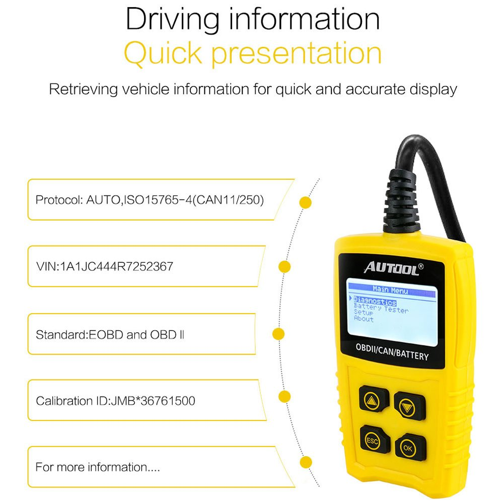 AUTOOL OBD2/EOBD Code Reader, CS330 Automative Diagnostic Code Scanner with Voltage Meter Car Engine Fault Code Reader with I/M Readiness for CAN OBD 12V SUV/Car/Van by AUTOOL (Image #4)