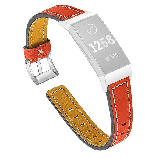 Hunpta@ Correa de Piel de Repuesto para Fitbit 3 Reloj de Mujer y ...