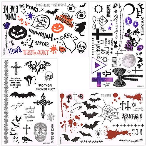 Halloween Bat Make Up (Waterproof Temporary Tattoo Sticker Halloween Masquerade Prank Makeup Props Over 60 halloween themed patterns designs on 4)