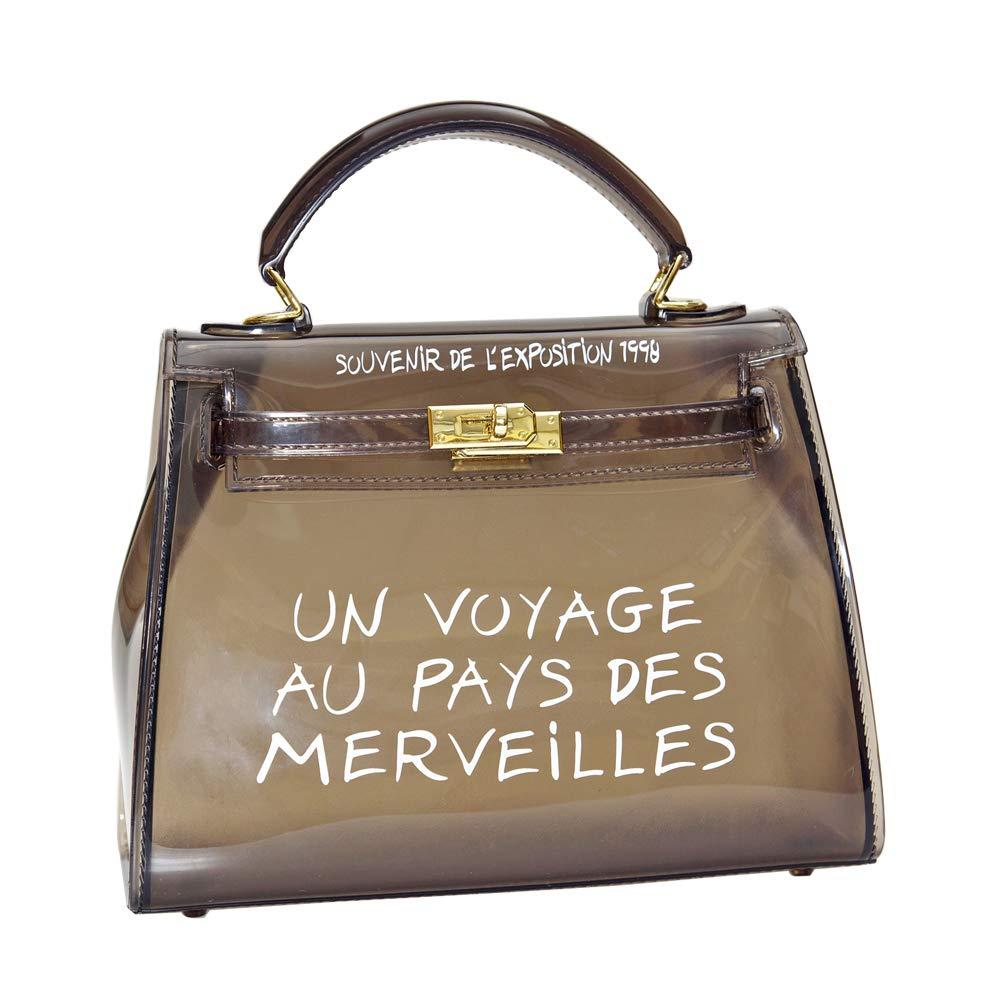 Women's Clear Bag Jelly Color Transparent Handbag PVC Purse (Large, Black)