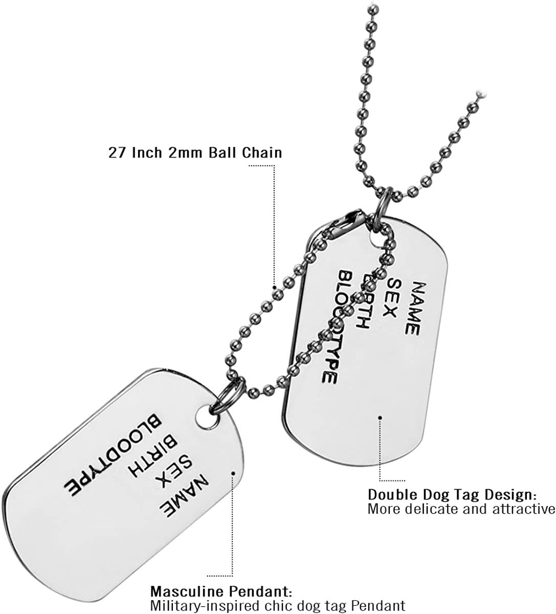Cupimatch Men Military Army Style Polished Stainless Steel Dog Tag Pendant Necklace with Chain Silver