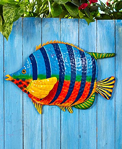 Tropical metal fish sculpture