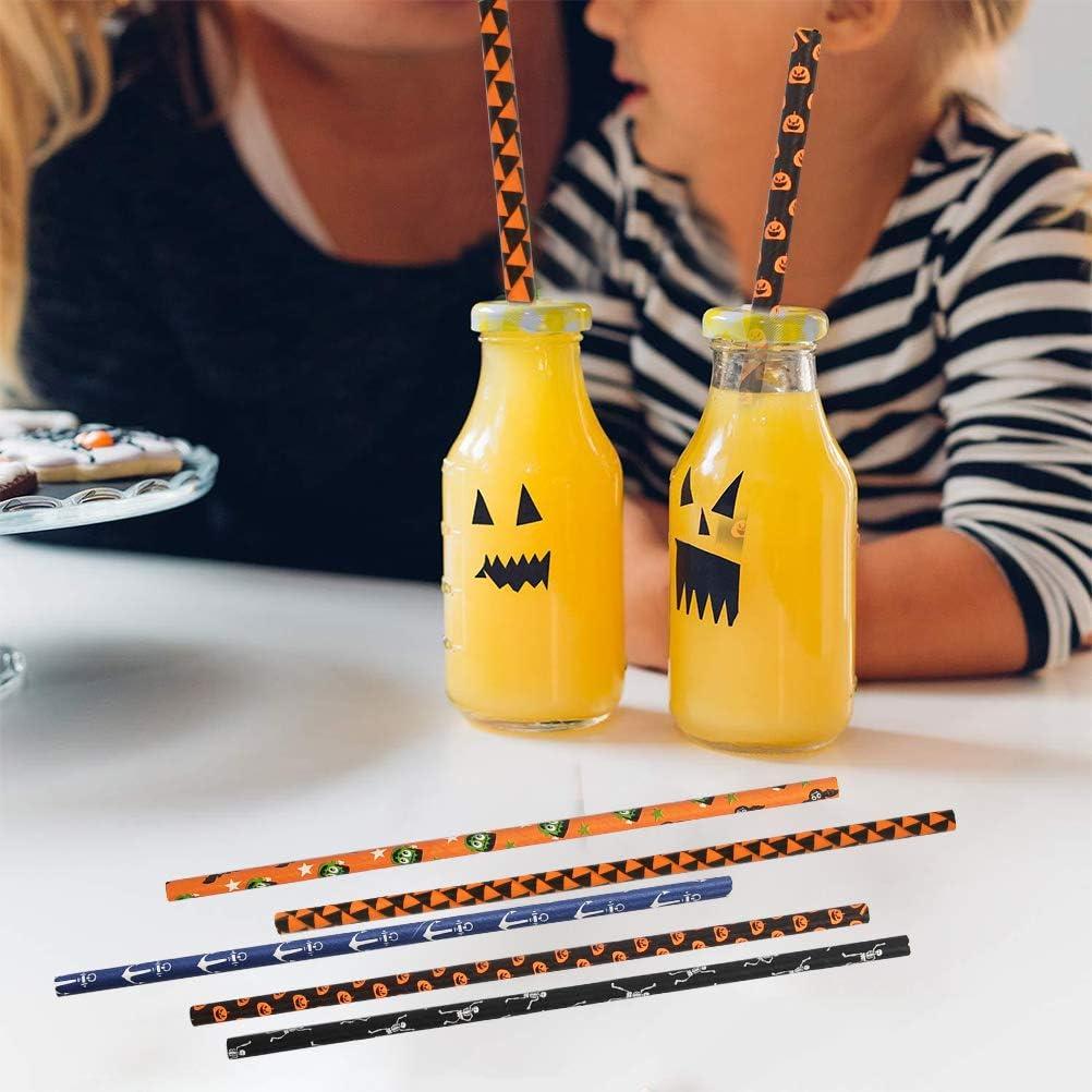 perfekt f/ür Halloween Party Partydekoration Einweg Strohhalme Umweltfreundlich 8 Bunte Farben Halloween Party Papierstrohhalme TIMESETL 200er Halloween Papier Trinkhalme