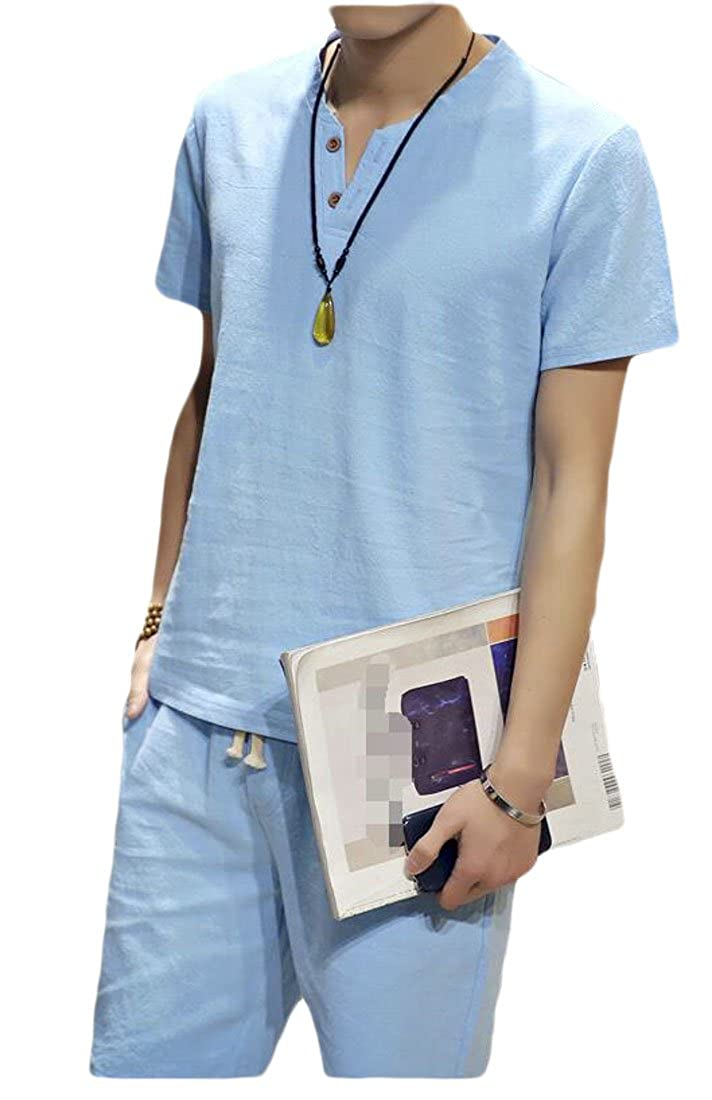 GloryA Mens Tee Short Sleeve Chinese Style Outfit Casual Cotton Shorts Tracksuits