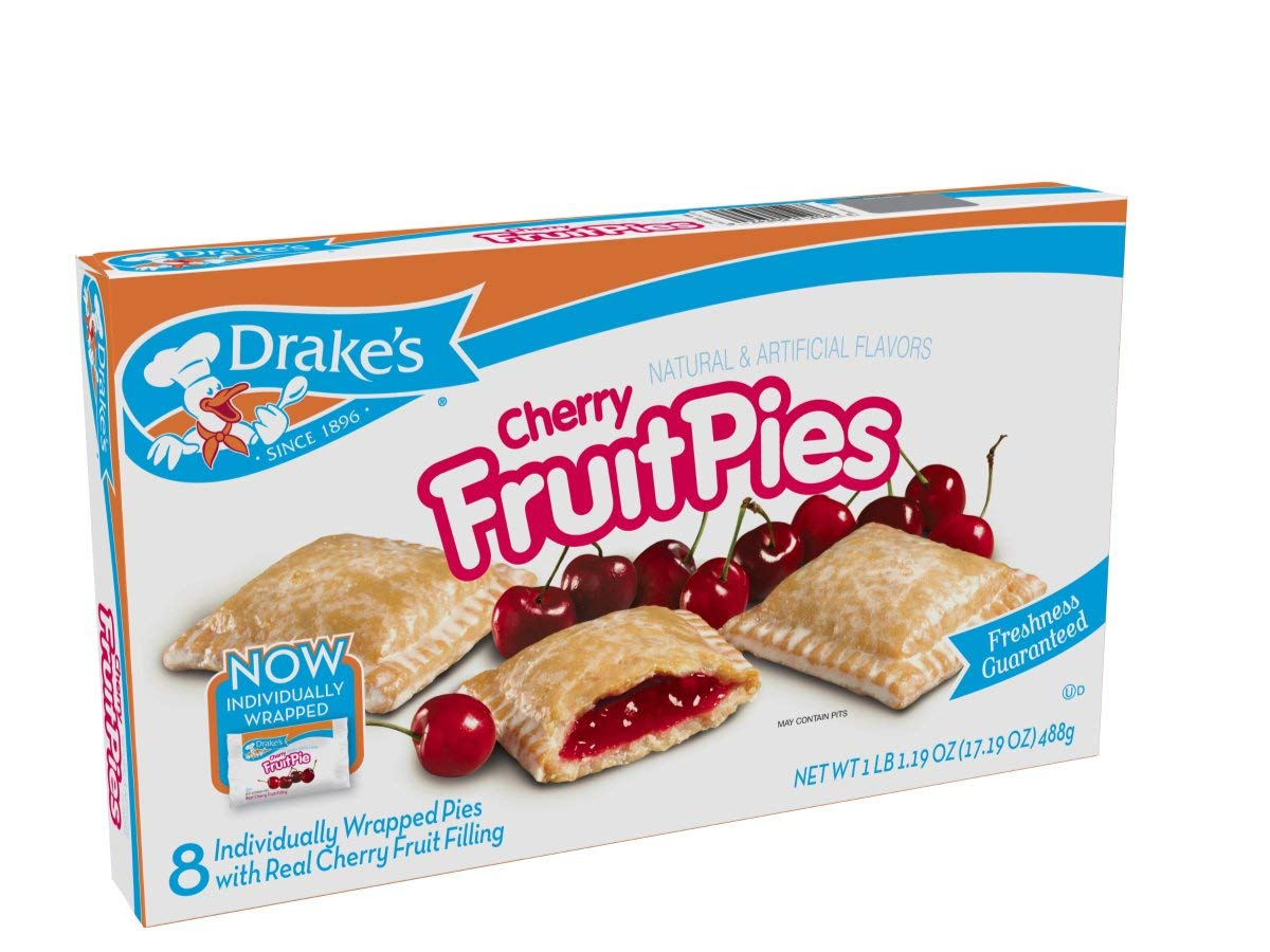 Drake's Cherry Fruit Pies, 2 oz Snack Pies, 8 Count by Drake's