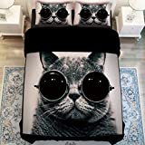 HIGOGOGO Home Textiles Cotton Black Cat Duvet Cover Set 5Pcs,Cool Glasses Sheet Set Twin Full Queen Size (Full)