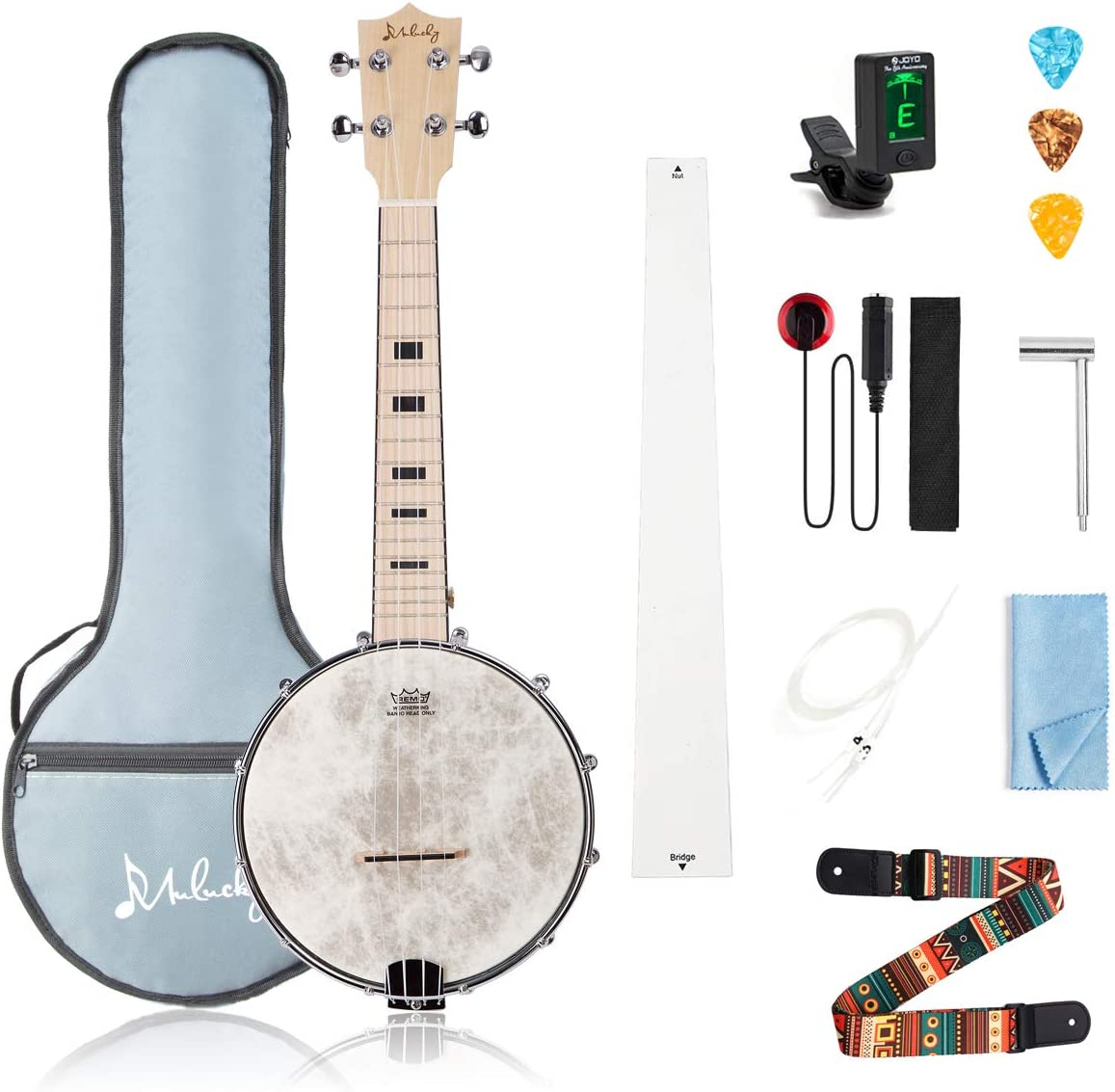 Mulucky 4 String Banjo Ukulele Concert 23 Inch Remo Drumhead Maple Body Beginner Kit With Truss Rod Gig Bag Tuner String Strap Picks – BU802