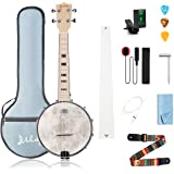 Mulucky 4 String Banjo Ukulele Concert 23 Inch Remo Drumhead Maple Body Beginner Kit With Truss Rod Gig Bag Tuner String…