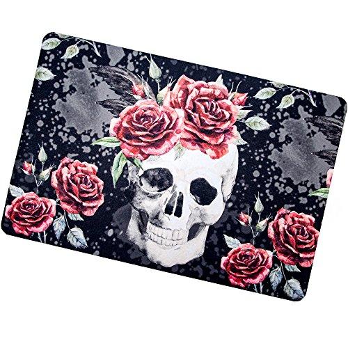 Leaves and flowers skulls in gray Bath Rugs, Non-Slip Rectangle Floor Entryways Outdoor Indoor Front Door Mat,16X24 Inches Bath -