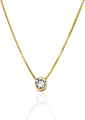 U.S made 0.25ct c z 14k yellow or white gold tiny pendant with round 4 mm