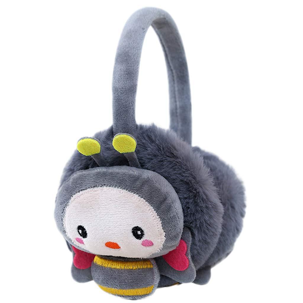 Lightning Deals Earmuffs, ZYooh Young Girls Kids Cartoon Bee Ears Design Windproof Warm Adjustable Ear Warmers (Gray)