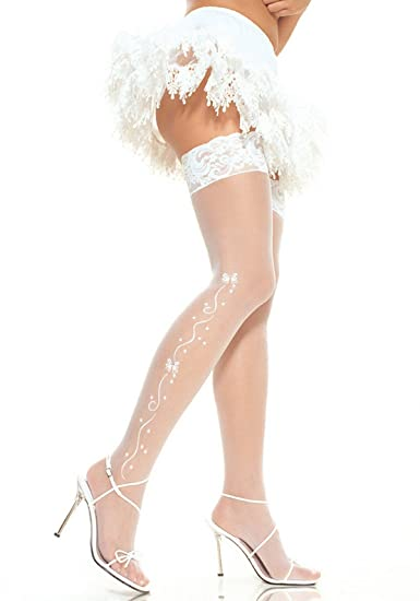 3208ae67c6431 Sexy White Ivory Pretty Wedding Day Bell Stockings Hosiery Bridal Lace Top  Rhinestones Bride to Be (Ivory) at Amazon Women's Clothing store: