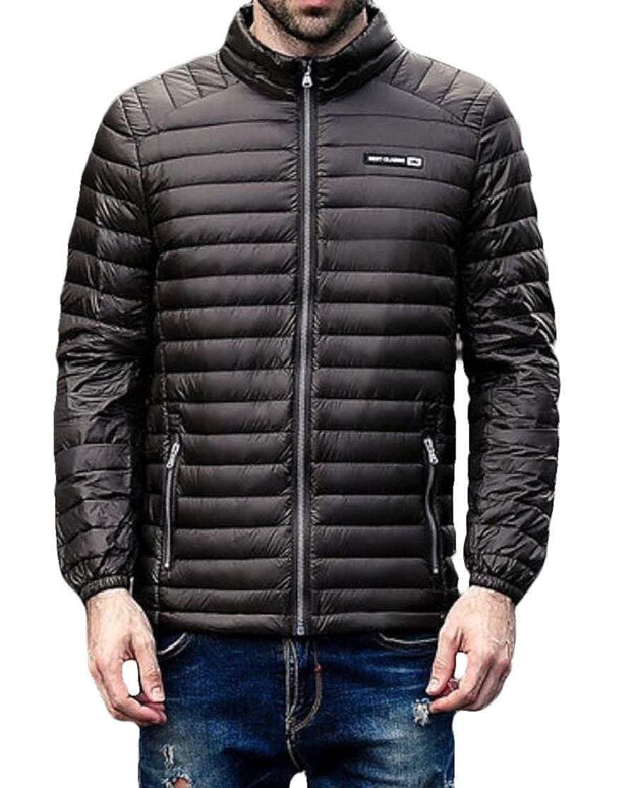BU2H Men Casual Full Zipper Packable Ultra Light Weight Puffer Down Jacket Coat