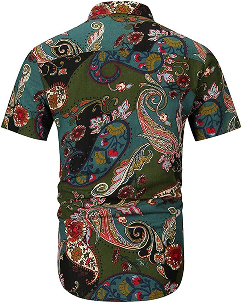 GUJMin Mens Shirt Short Sleeve Fashion Cashew Flower Print Shirt Hawaii Beach Shirt
