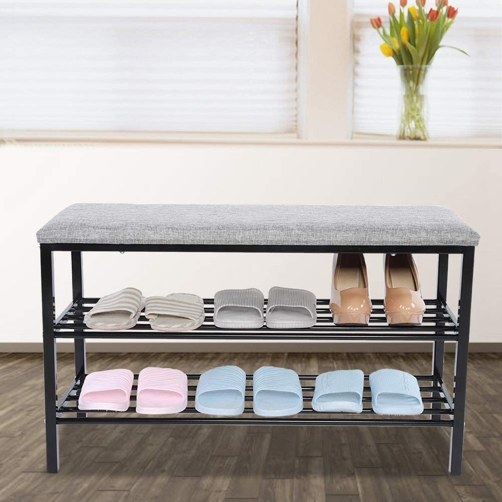 3 Tier Shoe Organizer Bench with Storage Shelf Entryway Shoe Rack Modern Storage Bench with Cushion for Hallyway Bathroom Living Room Bedroom Entryway Greensen Shoe Bench Black