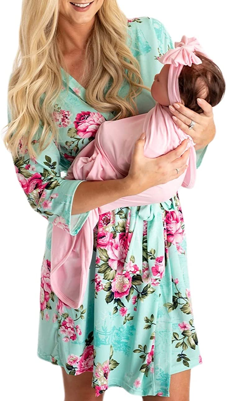 Little Adam and Eve Maternity Robe and Matching Baby Set Hospital Labor Delivery