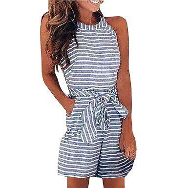 c786071aa7 Holywin Combishort Clubwear à Rayures pour Femmes Fête Combinaison Pantalon