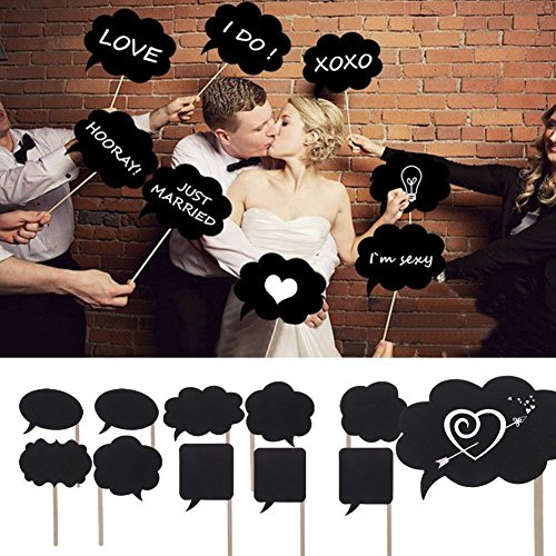 [10pcs Photo Booth Props BizoeRade Mini Cardboard Signs With Sticks Mini Blackboards Photography Props Wedding Party] (Simple Halloween Masks)