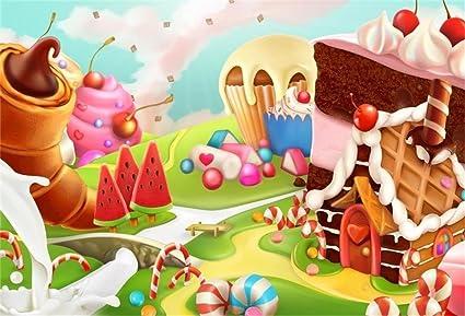 AOFOTO 5x3ft Fantasy Candy Land Landscape Background Cartoon Ice Cream Dessert Lollipop Photography Backdrop Cake House